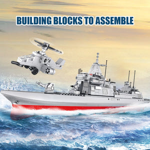 City Police WW2 Navy Destroyer Military Ship + Helicopter City Police Building Blocks Toy 864 pcs + 6 dolls