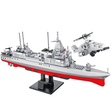 Load image into Gallery viewer, City Police WW2 Navy Destroyer Military Ship + Helicopter City Police Building Blocks Toy 864 pcs + 6 dolls