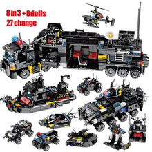 Load image into Gallery viewer, City Police SWAT Military Series Truck & Car + City Police Helicopter & Ship Building Blocks Toy 695 pcs + 8 dolls