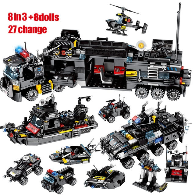 City Police SWAT Military Series Truck & Car + City Police Helicopter & Ship Building Blocks Toy 695 pcs + 8 dolls