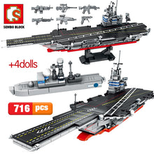 Load image into Gallery viewer, City Police WW2 Aircraft Carrier + Military Navy Submarine Building Blocks Toy 716 pcs + 4 dolls