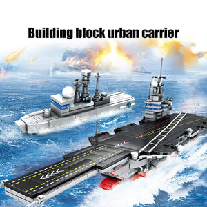 City Police WW2 Aircraft Carrier + Military Navy Submarine Building Blocks Toy 716 pcs + 4 dolls