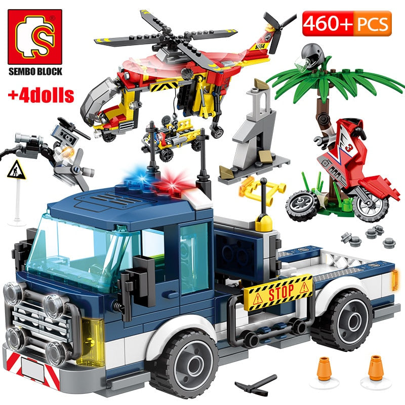 City Police Rescue Truck Off-road Car + Military Helicopter Building Blocks Toy 460 pcs + 4 dolls