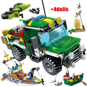 City Police Rescue Truck Off-road Car + Military Helicopter Ship Building Blocks Toy 460pcs + 4 dolls
