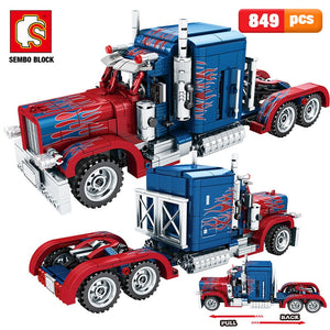 Pull Back Classic Peterbilt Heavy Container Truck Building Blocks Technic Toy 849 pcs