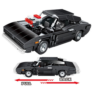 Pull Back Black Muscle Car Model Building Blocks Toy