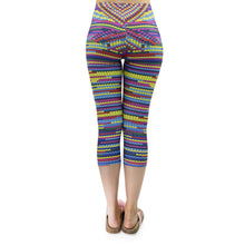 Load image into Gallery viewer, Multicolor Knit Printing Mid-Calf 3/4 Women Capri Leggings