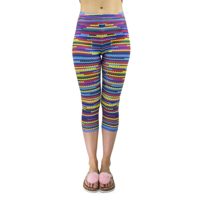 Multicolor Knit Printing Mid-Calf 3/4 Women Capri Leggings
