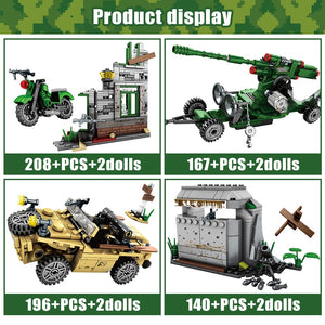 Military Series 2 WW2 Army Model Building Blocks Toy 711 pcs + 8 dolls