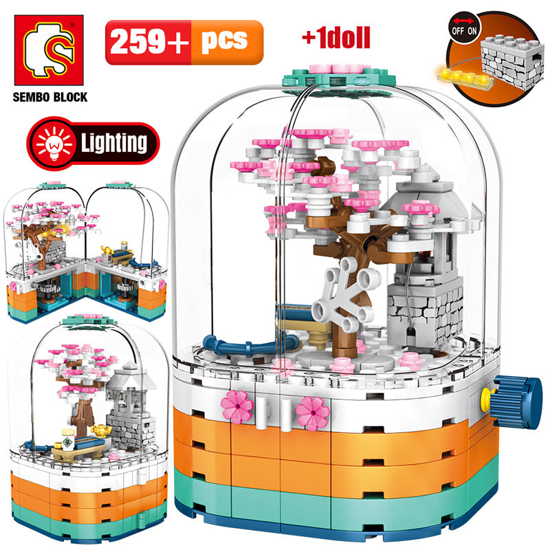 LED Light Rotating Box Cherry Blossom Tree House Building Blocks Toy 259 pcs + 1 doll