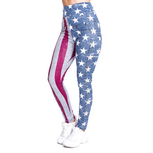 Load image into Gallery viewer, Flag imitate Jeans Printing High Waist Women Leggings