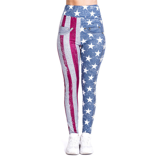 Flag imitate Jeans Printing High Waist Women Leggings