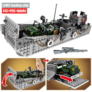 WW2 Military LCM3 Landing Ship Building Blocks Toy 413 pcs + 6 dolls