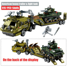Load image into Gallery viewer, WW2 Military American Heacy Trailer & Light Tank Building Blocks Toy 915 pcs + 5 dolls