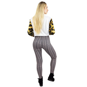 Black And White Stri Printing High Waist Women Leggings