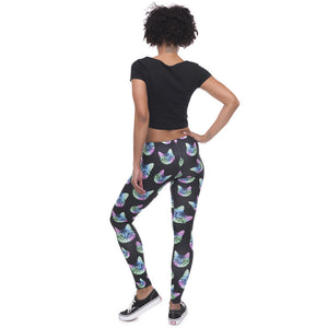 Neon Cat Black Printing High Waist Women Leggings