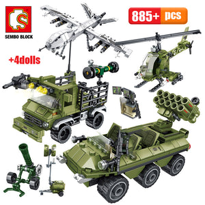 WW2 Military Army Series Building Blocks Toy 855 pcs + 4 dolls