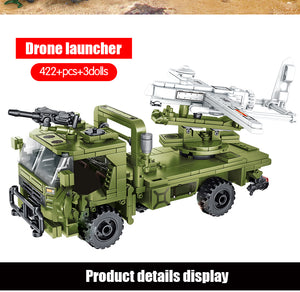 WW2 Military Drone Launcher Building Blocks Toy 422 pcs + 3 dolls