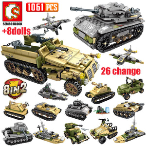 WW2 Deformation War Tank Army Soldiers Figures Building Blocks Toy 1061 pcs + 8 dolls