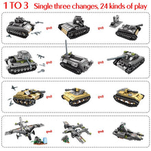 Load image into Gallery viewer, WW2 Deformation War Tank Army Soldiers Figures Building Blocks Toy 1061 pcs + 8 dolls