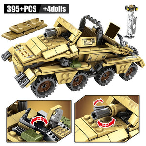 WW2 German 50.kfz.251 Armored Vehicle With Gun Building Blocks Toy 395 pcs + 4 dolls