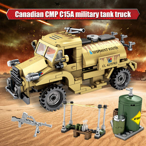 WW2 Canadian CMP C15A Military Truck Building Blocks Toy 284 pcs + dolls