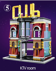 5-in-1 USB Light Nightclub  Building Blocks Toy 2488 pcs + 8 dolls