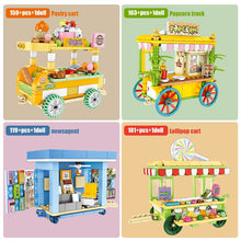 Load image into Gallery viewer, Food Cart Model 1 Building Blocks Toy 622 pcs + 4 dolls