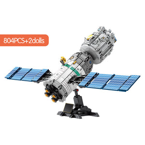 Lunar Lander Planet Spaceship Building Blocks Kids Toy 804 psc + 2 dolls