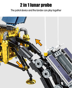 Lunar Lander Planet Explorer Building Blocks Kids Toy 702 psc + 2 dolls