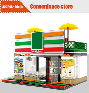 Retail Store Convenience Store Model 1 Building Blocks Toy 320 pcs + 3 dolls