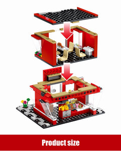 Retail Store Fast Food Restaurant K Model 2 Building Blocks Toy 282 pcs + 3 dolls