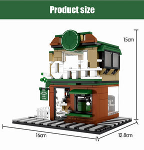 Retail Store Street Cafe Model 3 Building Blocks Toy 283 pcs + 3 dolls