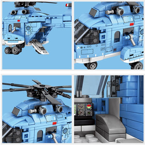 Military Helicopter Model Building Block Toy 375 pcs + 2 dolls