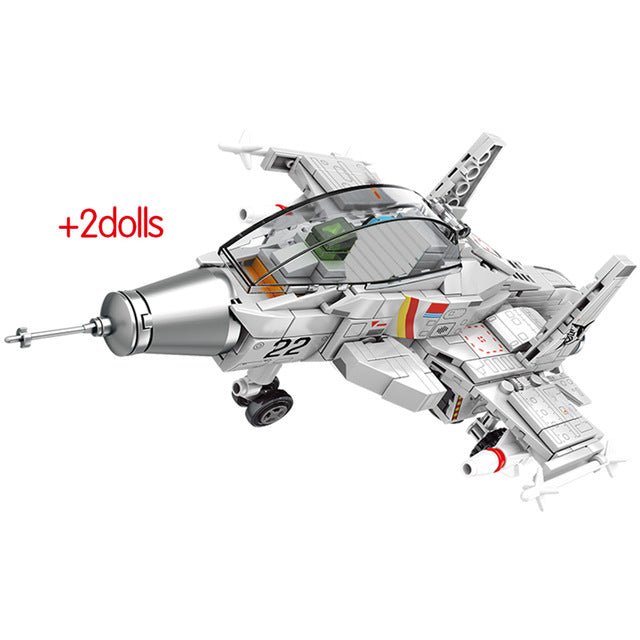 Military Carrier Fighter Model Building Block Toy 366 pcs + 2 dolls