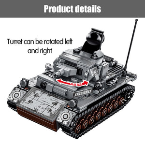 Military Series WW2 German Steel Tank Building Blocks Toy 596 pcs + 4 dolls