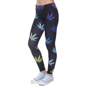 Color Weeds Printing High Waist Women Leggings