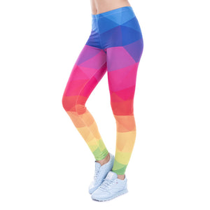Colorful Triangles Rainbow Printing High Waist Women Leggings