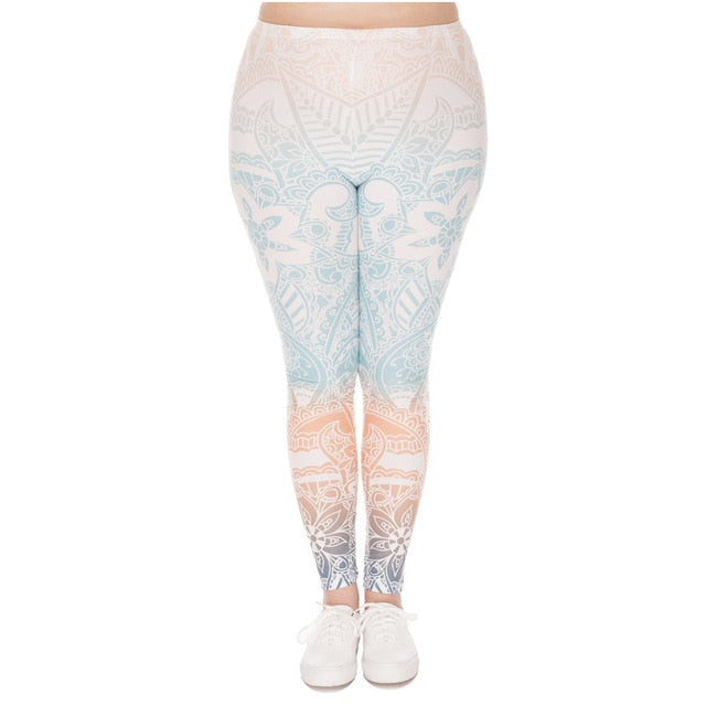 Mandala Mint Printing Plus Size Women Leggings