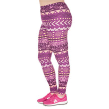 Load image into Gallery viewer, Boho Purple Printing Plus Size Women Leggings