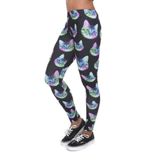Load image into Gallery viewer, Neon Cat Black Printing High Waist Women Leggings