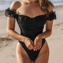 Load image into Gallery viewer, Dot Mesh Padded One Piece Swimsuit Black