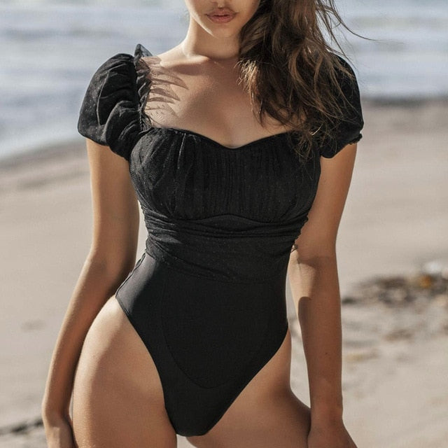 Dot Mesh Padded One Piece Swimsuit Black