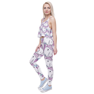 Pink White Unicorn Printing High Waist Women Leggings