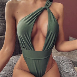 One-Shoulder One Piece Padded Swimsuit Green