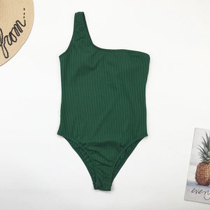 One Shoulder Padded One Piece Swimsuit Green