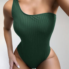 Load image into Gallery viewer, One Shoulder Padded One Piece Swimsuit Green