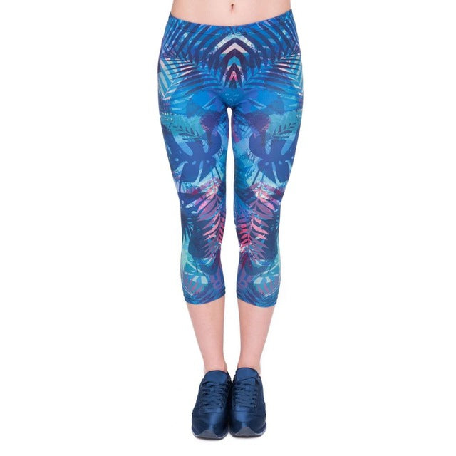 Tropical Leaves Printing Mid-Calf 3/4 Women Capri Leggings