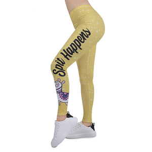 Funny Alpaca Printing High Waist Women Leggings