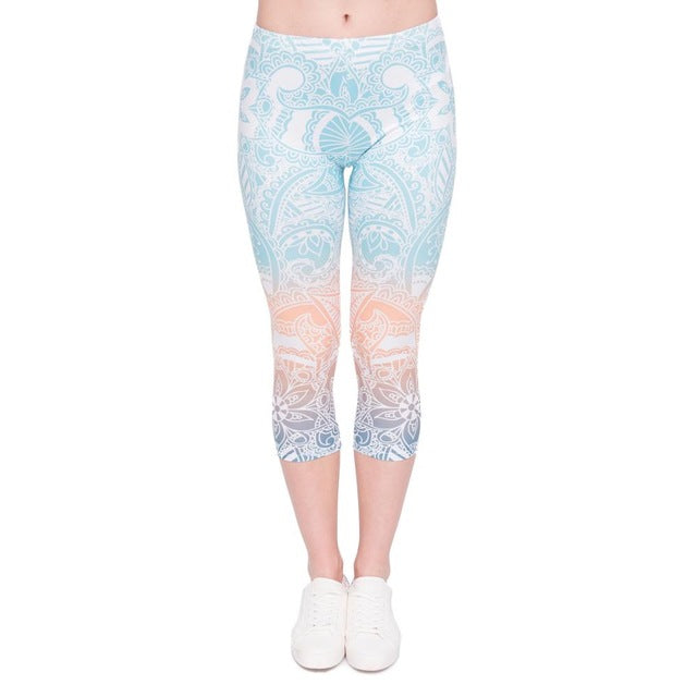 Mandala Mint Printing Mid-Calf 3/4 Women Capri Leggings